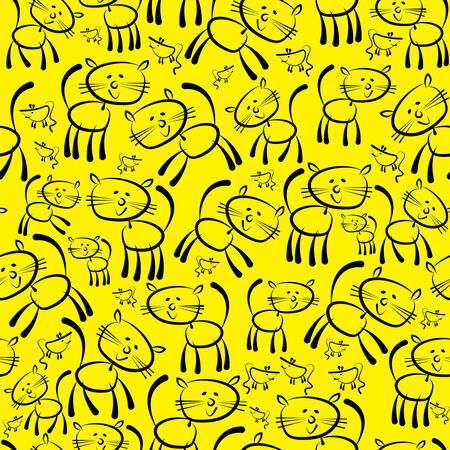 cats and mouse seamless pattern  Illustration