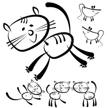 cats and mouse isolated on a white background