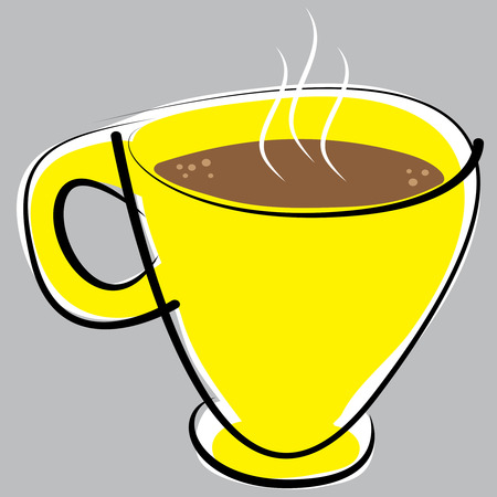 cup of coffee on gray background Illustration