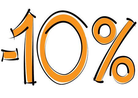 minus ten percent discount on a white background Illustration