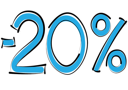 minus twenty percent discount on a white background