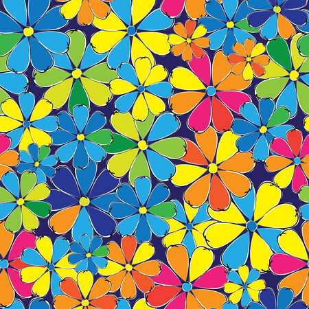 multicolored flowers seamless pattern Vector