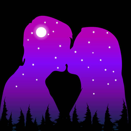 Young couple kissing, moon and stars. Double exposure vector illustration.