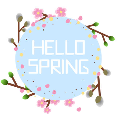 """Circle frame hello spring. Spring greeting card with text """"hello Spring"""" in which there are many flowers, herbs and floral motifs."""