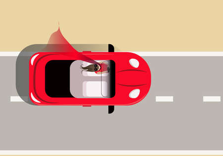 Woman in red, traveling in a convertible, view from above. Flat vector illustration. Illustration