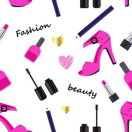 Seamless Makeup pattern with text Fashion, beauty. Pattern with nail polish, lipstick and shoe. Vector illustration. Illusztráció