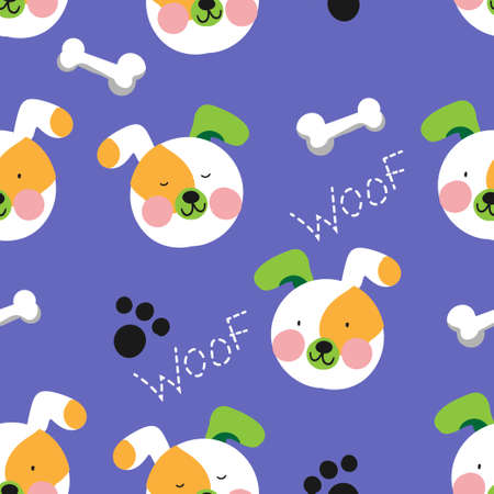 seamless cute dog with a bone pattern vector illustration