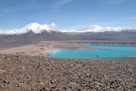 laguna: Laguna verde  in Atacama  desert and Licancabur volcano, Chile