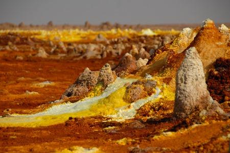 Kolorowe vulcano Dallol w Danakil deser (Etiopia)