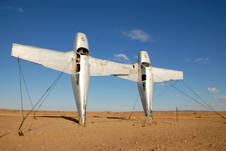 immobility: Two aircraft dug into the ground and covered the hot sun in Australia Stock Photo