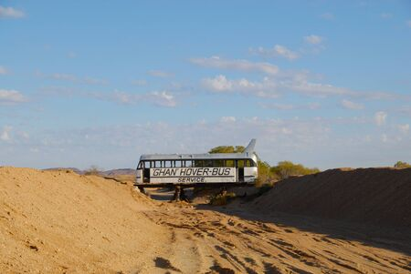 desolation: Old bus in the middle of the Australian desert