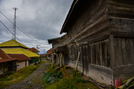 republik: Wooden houses are abandoned after the evacuation of people due to the volcano (Sumatra, Indonesia) Stock Photo