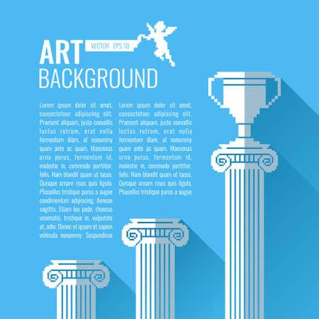 postcard background: Pixel graphics. Vector background for text. Column, Cup. Illustration for design, postcard, poster.