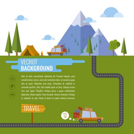 incendio bosco: Famiglia che viaggiano in auto. Sfondo, tenda, montagna, foresta, fuoco, strada, lago, auto. Illustrazione vettoriale
