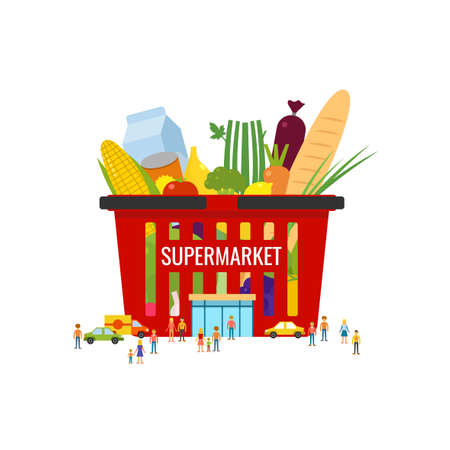 continental food: Supermarket. Shopping basket. Elements and icons for cards, illustration, poster and web design. Illustration