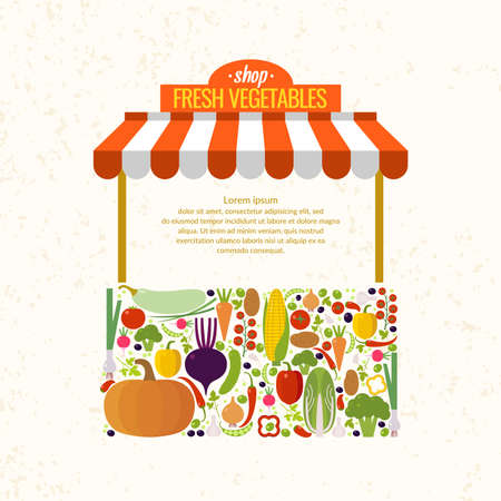 Store fresh vegetables. Organic food. Elements and icons for cards, illustration, poster and web design.