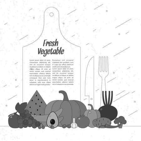 continental food: Fresh vegetables. Organic food. Elements and icons for cards, illustration, poster and web design. Illustration