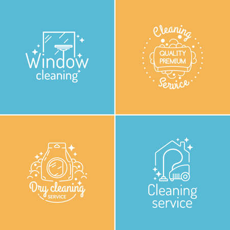 Set. Cleaning service. Label collection. Logo and design elements. Иллюстрация