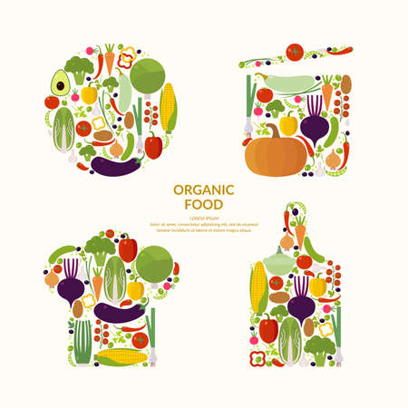 Vegetables. Organic food. Elements and icons for cards, illustration, poster and web design.