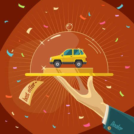 Beste aanbod. Auto's te koop. Illustratie voor reclame, design en web.