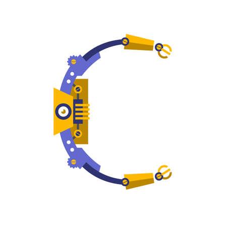 Robot, font vector. Letter C