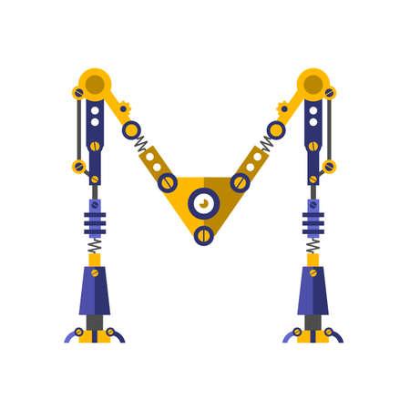 letter m: Robot, font vector. Letter M Illustration
