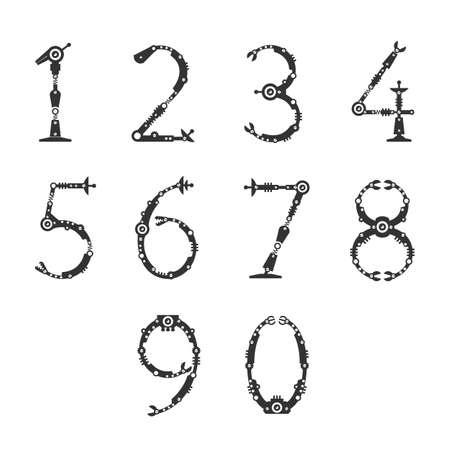 numbers: Technical font. Numbers