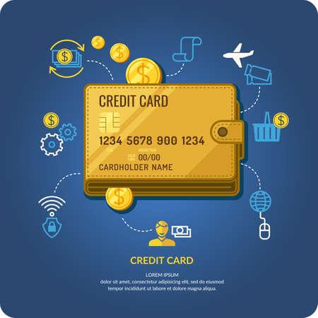 credit card: Tarjeta de crédito. Infografía comerciales. Los iconos y las ilustraciones para el diseño, la página web, infografía, cartel, publicidad.