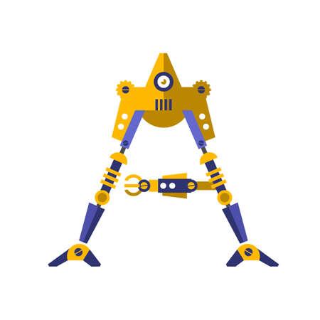 Robot, font vector. Letter A