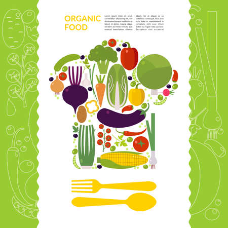 organic peppers sign: Organic food. Elements and icons for cards, illustration, poster and web design.