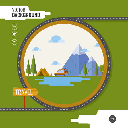 incendio bosco: Family traveling in car. Background, tent, mountain, forest, fire, road, lake, car. Vector illustration Vettoriali