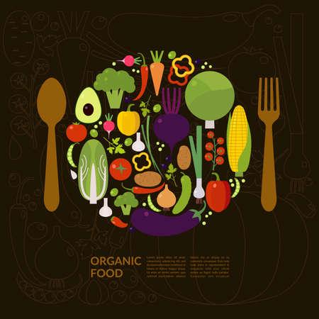 Biologisch voedsel. Elementen en pictogrammen voor kaarten, illustratie, poster en webdesign.