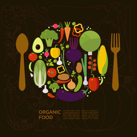 food illustration: Organic food. Elements and icons for cards, illustration, poster and web design.