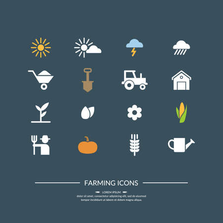 cartoon tractor: Harwest. Farming Icons for design, website, infographic, poster, advertising.