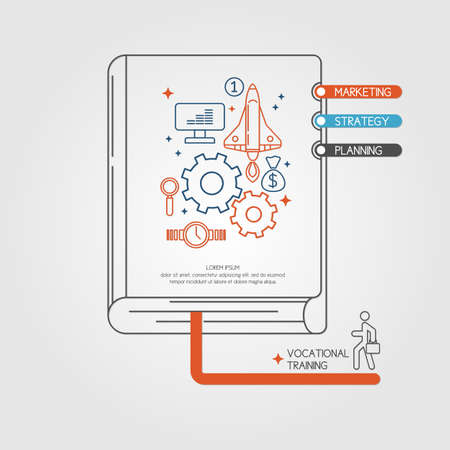 Vocational training. Income and success. Business infographics. Icons and illustrations for design, website, infographic, poster, advertising. Illustration