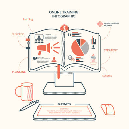 vocational training: Online training. Income and success. Business infographics. Icons and illustrations for design, website, infographic, poster, advertising.