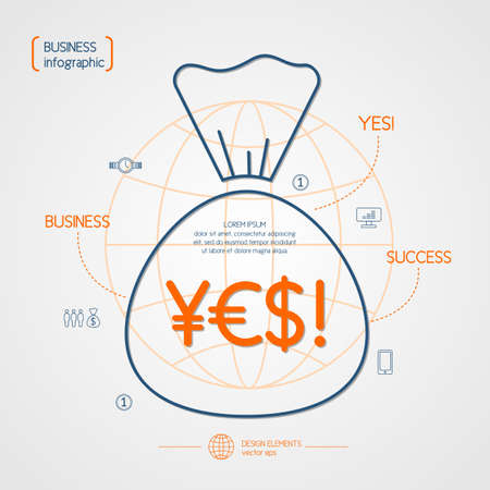 success business: Income and success. Business infographics. Icons and illustrations for design, website, infographic, poster, advertising.