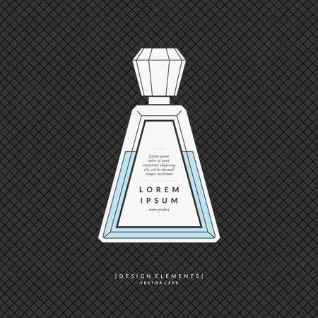 Perfume bottle. Elements for design, cards, poster. Illustration
