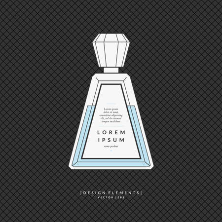 Perfume bottle. Elements for design, cards, poster. Иллюстрация