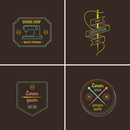 Set. Tailor. Sewing labels collection. Logo and design elements.