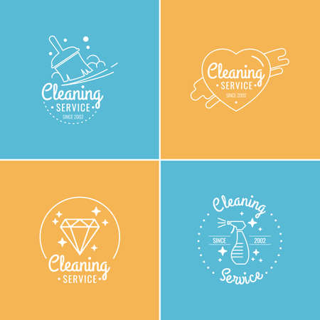 cleaning equipment: Set. Cleaning service. Label collection. Logo and design elements. Illustration