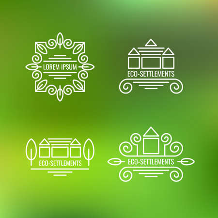 green buildings: Eco-settlement. Logo and design element