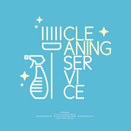 servicio domestico: Servicio de limpieza. Logotipo y elementos de diseño. Vectores