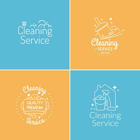 Ingesteld. Schoonmaak service. Label collectie. Logo en design elementen.