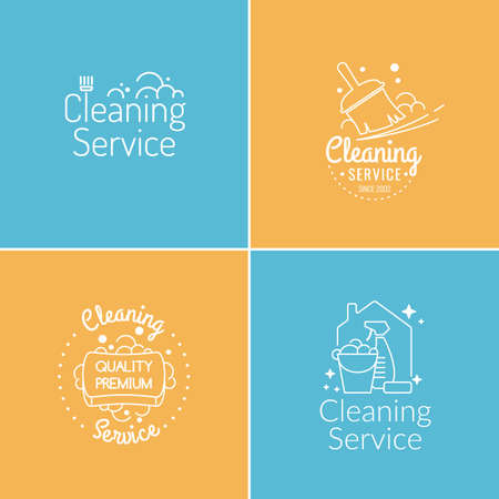 black dish: Set. Cleaning service. Label collection. Logo and design elements. Illustration
