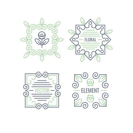 logo element: Linear logo and design element. Floral elements for cards, illustration, poster and web design. Illustration