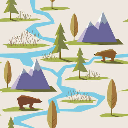 summer fun: Vector illustration in trendy flat style. Seamless pattern. Mountains, forest, trees, bear, river, nature, spring, grass, greens. Wild nature.