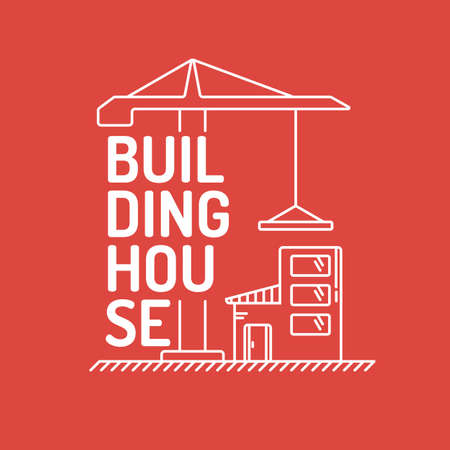 outbuilding: Construction. Elements for cards, illustration, poster and web design.