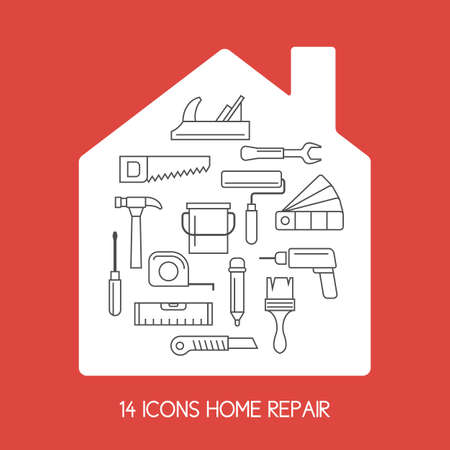 Icons. House repair. Elements and icons for cards, illustration, poster and web design. Stock Illustratie