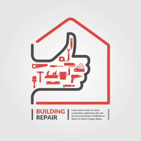 logotipo de construccion: La reparación del edificio. Elementos e iconos para tarjetas, ilustración, cartel y diseño web.
